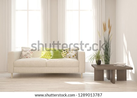 Idea of white minimalist room with sofa. Scandinavian interior design. 3D illustration #1289013787