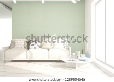Idea of white minimalist room with sofa. Scandinavian interior design. 3D illustration #1289804545