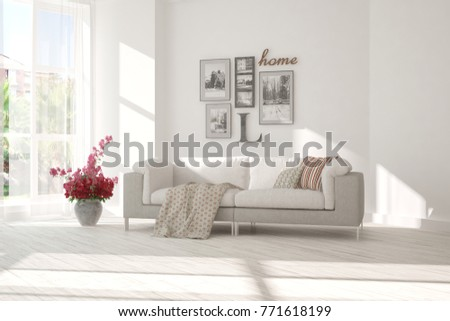 Idea of white minimalist room with sofa. Scandinavian interior design. 3D illustration #771618199