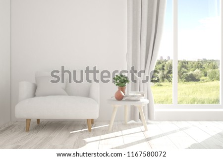 Idea of white room with armchair and summer landscape in window. Scandinavian interior design. 3D illustration #1167580072