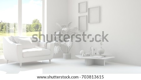 Idea of white room with armchair and summer landscape in window. Scandinavian interior design. 3D illustration #703813615