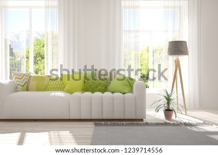 Idea of white room with sofa and summer landscape in window. Scandinavian interior design. 3D illustration #1239714556