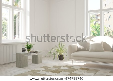 Idea of white room with sofa and summer landscape in window. Scandinavian interior design. 3D illustration #674988760