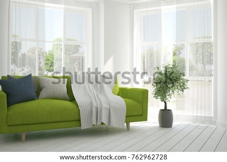 Idea of white room with sofa and summer landscape in window. Scandinavian interior design. 3D illustration #762962728