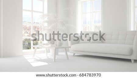 Idea of white room with sofa. Scandinavian interior design. 3D illustration