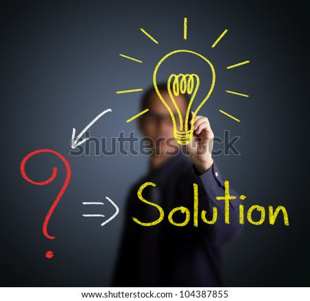 idea or innovation change problem to solution concept written by businessman
