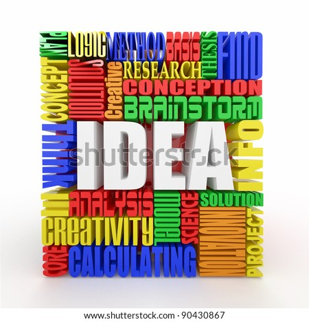 Idea. The concept of the words on white background. 3d