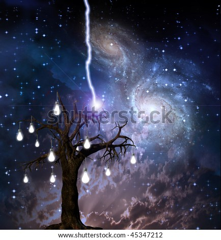 Idea Tree is lit up by lightning - stock photo