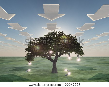 Idea tree with arrow clouds