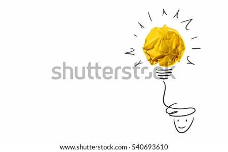 Idea with yellow crumpled paper ball ( lightbulb ) and businessman.Creative concept. #540693610