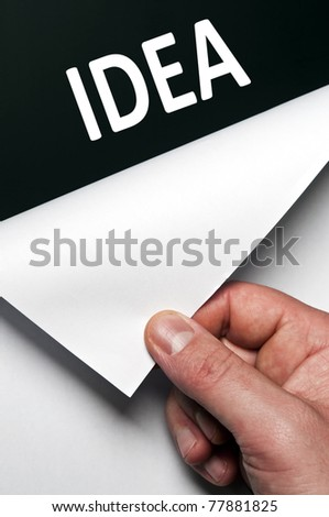 Idea word discovered by male hand