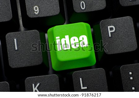 idea word on green and black keyboard button
