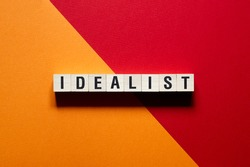 Idealist word concept on cubes