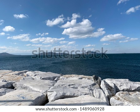 Idealtepe Sahil adn sea side at Cloudy Day in Maltepe Istanbul Turkey Stok fotoğraf ©