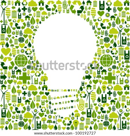 Ideas about eco friendly actions. Green icons in light bulb symbol shape background.