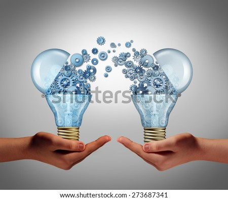 Ideas agreement Investing in business innovation concept and financial commerce backing of creativity as an open lightbulb icon for funding potential innovative growth prospect with venture capital.