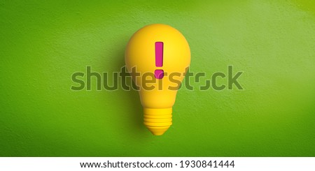 Ideas and innovation concept: 3D rendered retro type yellow light bulb on green background. Red exclamation mark for attention. Be careful. Announcement of an idea. Problem notification. Alarm icon Stock photo ©