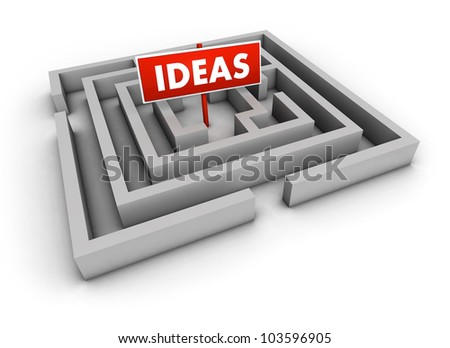 Ideas concept with labyrinth and red goal sign on white background.