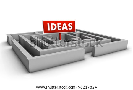 Ideas concept with labyrinth and red goal sign on white background. - stock photo