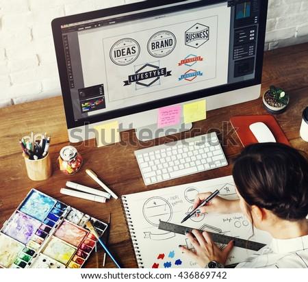 Ideas Creative Occupation Design Studio Drawing Startup Concept #436869742