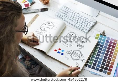 Ideas Creative Occupation Design Studio Drawing Startup Concept - Shutterstock ID 454802278