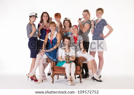 Ideas for hen party: bride and her maids are mariners