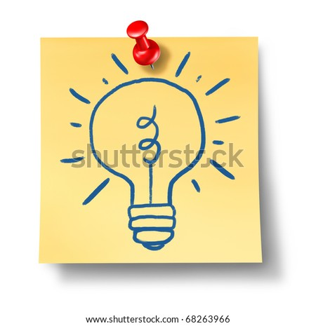 ideas inspiration creativity light bulb  office notes yellow red thumb tack