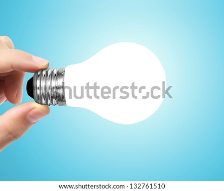 Ideas light bulb on a hand