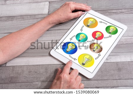 Ideas sharing concept shown on a tablet used by a woman #1539080069