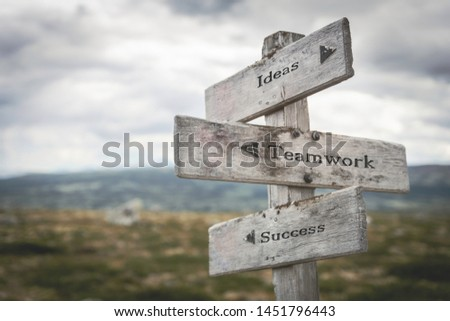 Ideas, teamwork and success signpost outdoors in nature. Road, choose, together, business, corporate concept. #1451796443