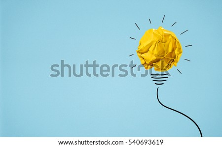 Ideas with yellow crumpled paper ball ( lightbulb ).Creative business concept.