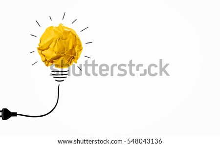 Ideas with yellow crumpled paper ball ( lightbulb ).Creative business concept.  #548043136