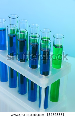 Identical test tubes close-up