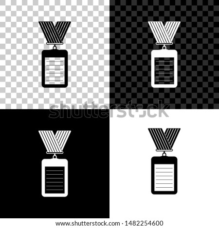 Identification badge with lanyard icon isolated on black, white and transparent background. Identification card. It can be used for presentation, identity of the company