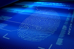 identification system scanning human fingerprint