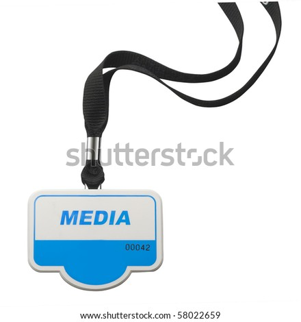 Identity badge with MEDIA lettering on white with clipping path