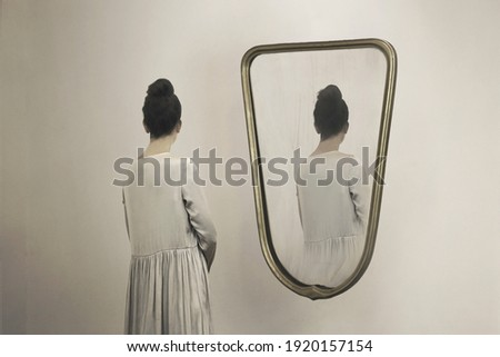 identity crisis and confidentiality, a woman who is mirrored and always appears from behind