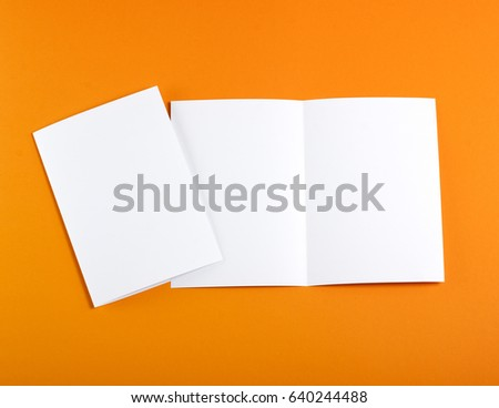Identity design, corporate templates, company style, set of booklets, blank white folding paper flyer #640244488