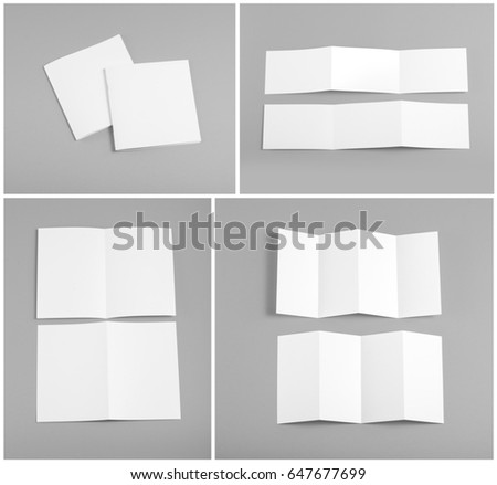 Identity design, corporate templates, company style, set of booklets, blank white folding paper flyer #647677699