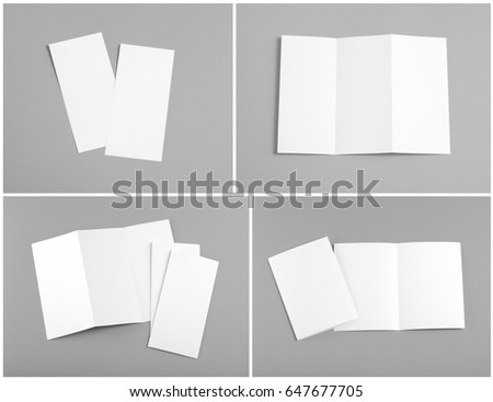 Identity design, corporate templates, company style, set of booklets, blank white folding paper flyer #647677705