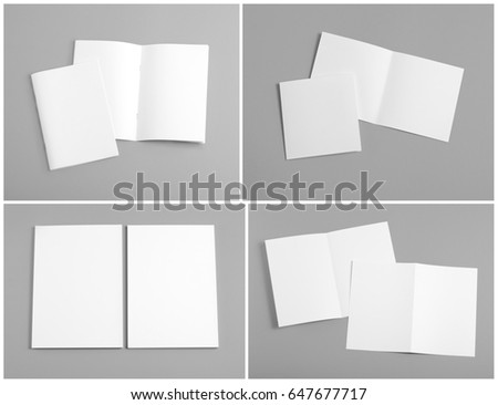 Identity design, corporate templates, company style, set of booklets, blank white folding paper flyer #647677717