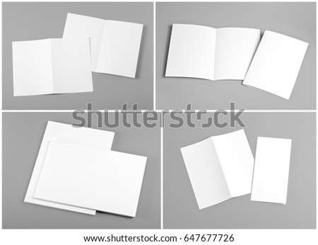 Identity design, corporate templates, company style, set of booklets, blank white folding paper flyer #647677726