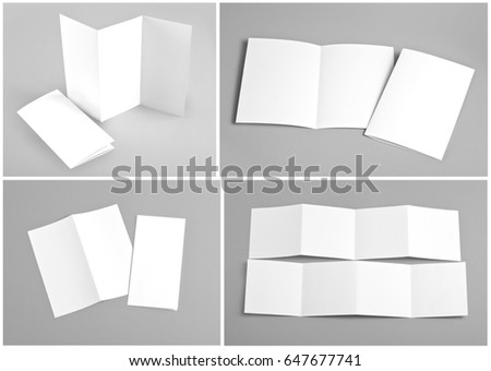 Identity design, corporate templates, company style, set of booklets, blank white folding paper flyer #647677741