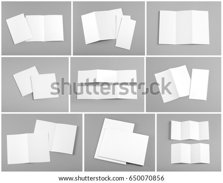 Identity design, corporate templates, company style, set of booklets, blank white folding paper flyer #650070856