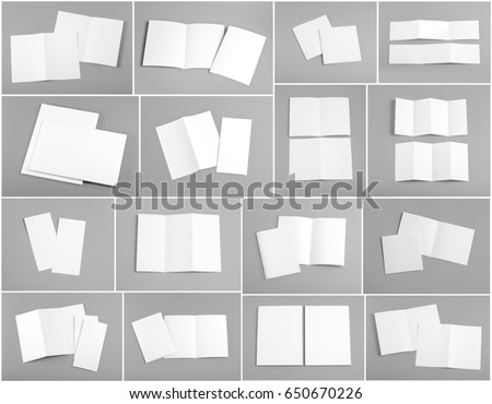 Identity design, corporate templates, company style, set of booklets, blank white folding paper flyer on orange background #650670226
