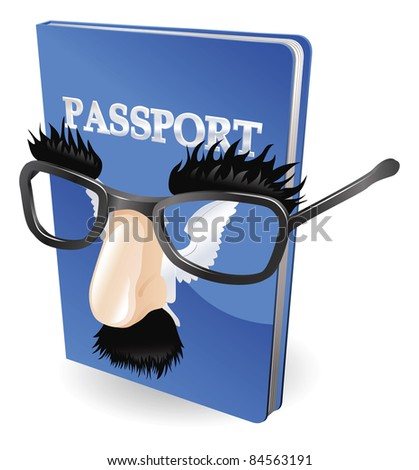 Identity theft concept. Passport wearing a disguise of fake glasses and nose.