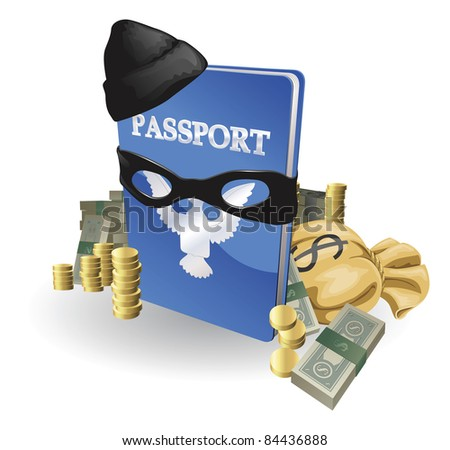 Identity theft concept. Passport with wearing burglar outfit surrounded by stacks of money.