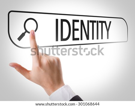 Identity written in search bar on virtual screen