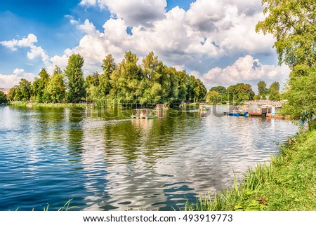 Idillic lake inside Gorky Park in central Moscow, Russia #493919773