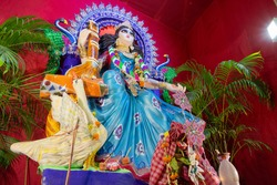 Idol of Goddess Saraswati at Kolkata, West Bengal, India is being worshipped. Saraswati is Hindu goddess.